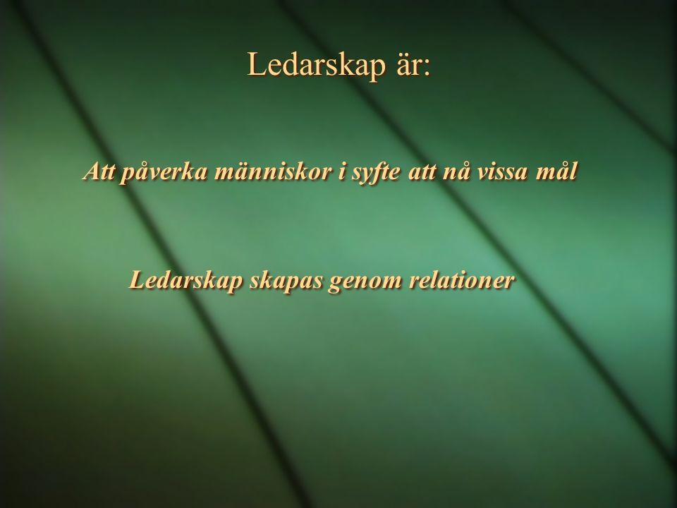 Ledarskap är: Att påverka människor i syfte att nå vissa mål