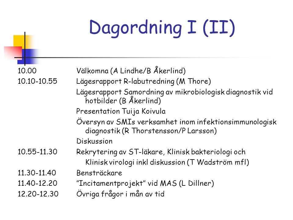 Dagordning I (II)