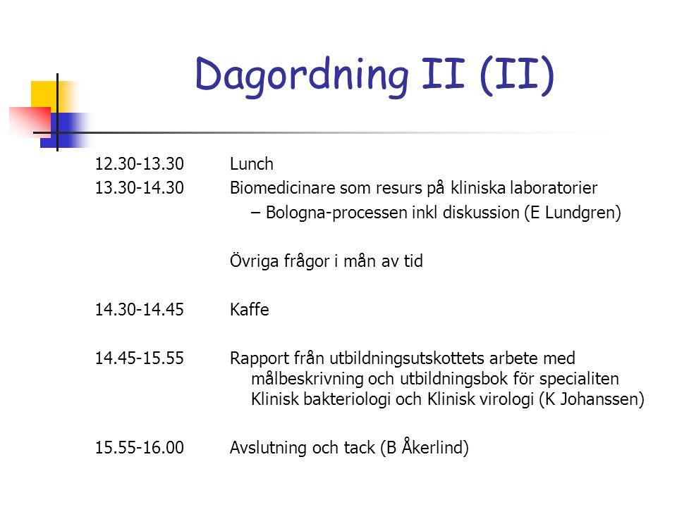 Dagordning II (II)
