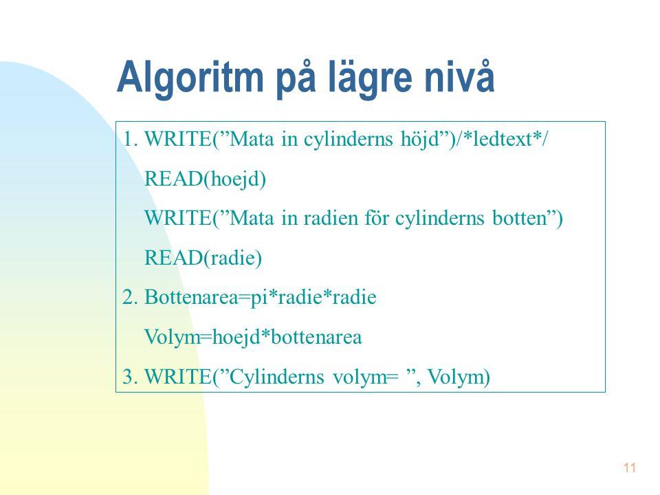 Algoritm på lägre nivå 1. WRITE( Mata in cylinderns höjd )/*ledtext*/
