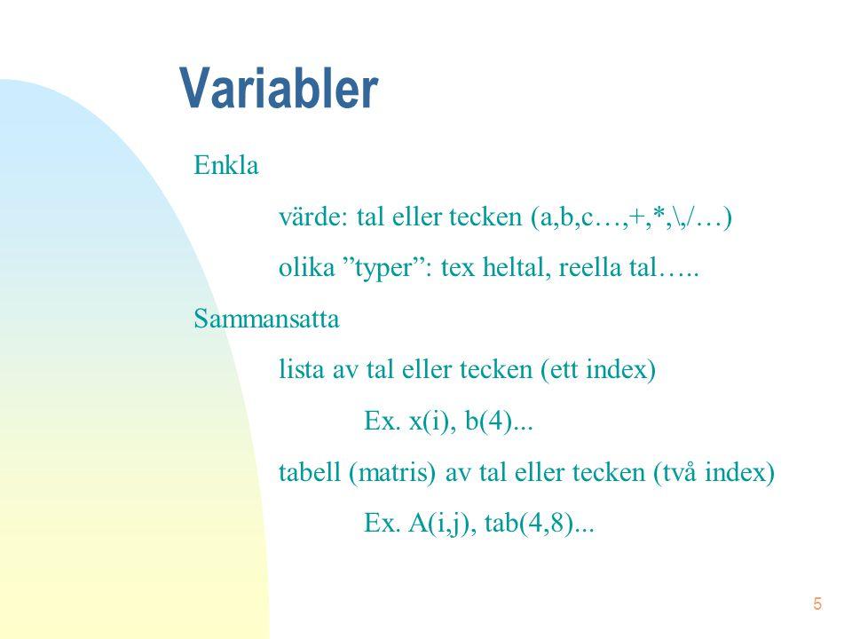 Variabler Enkla värde: tal eller tecken (a,b,c…,+,*,\,/…)