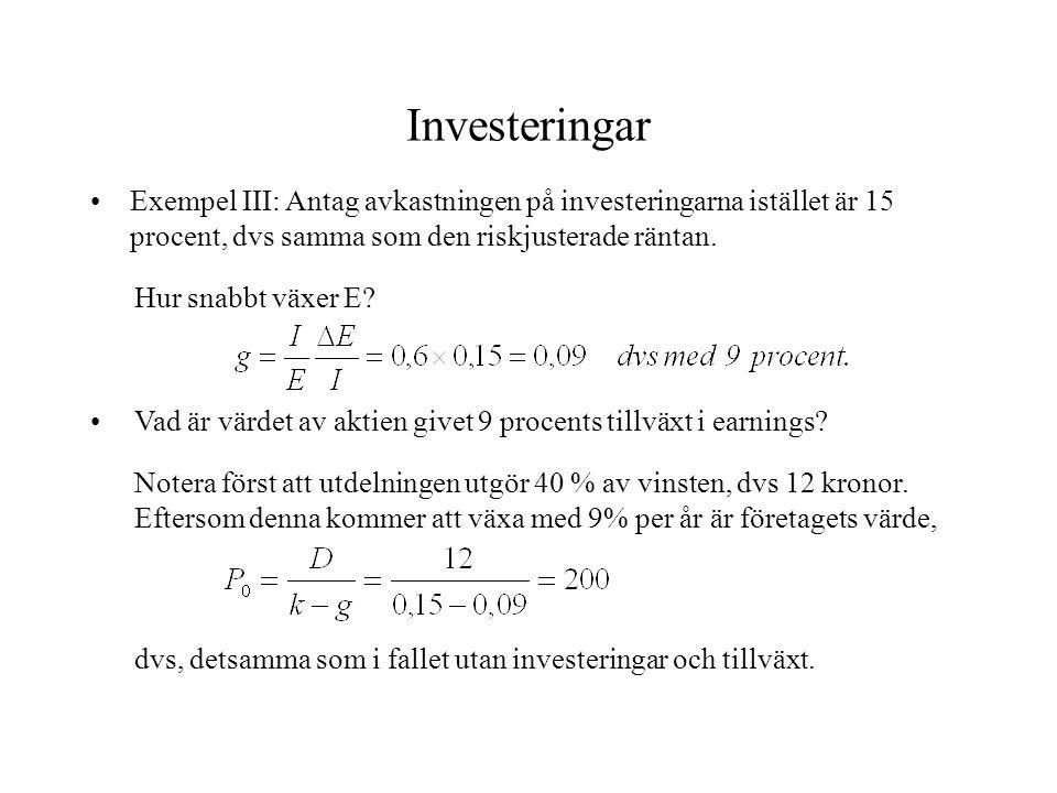 Investeringar Exempel III: Antag avkastningen på investeringarna istället är 15 procent, dvs samma som den riskjusterade räntan.