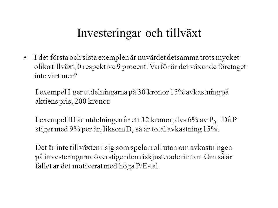 Investeringar och tillväxt