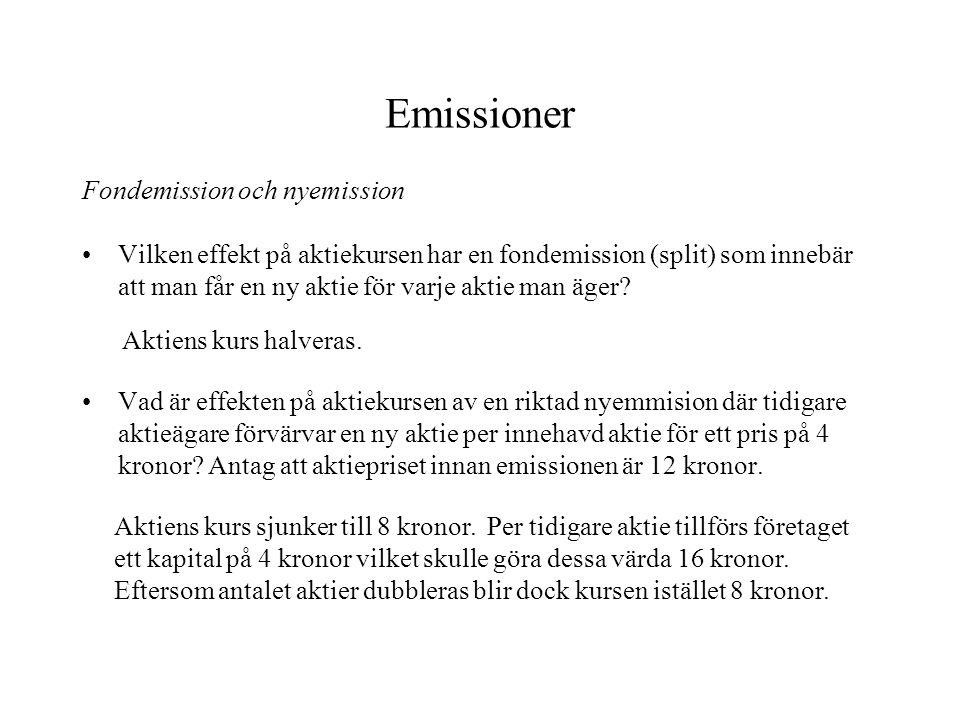 Emissioner Fondemission och nyemission