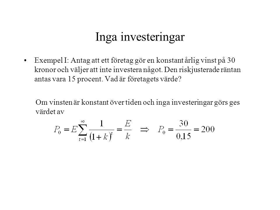 Inga investeringar
