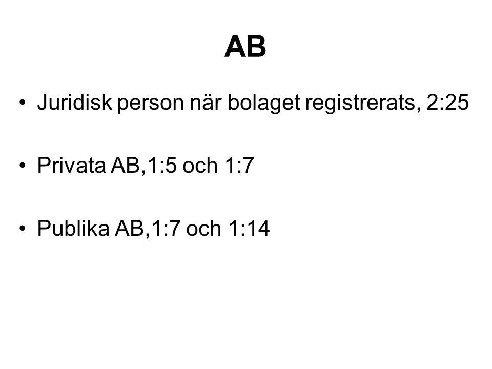 AB Juridisk person när bolaget registrerats, 2:25