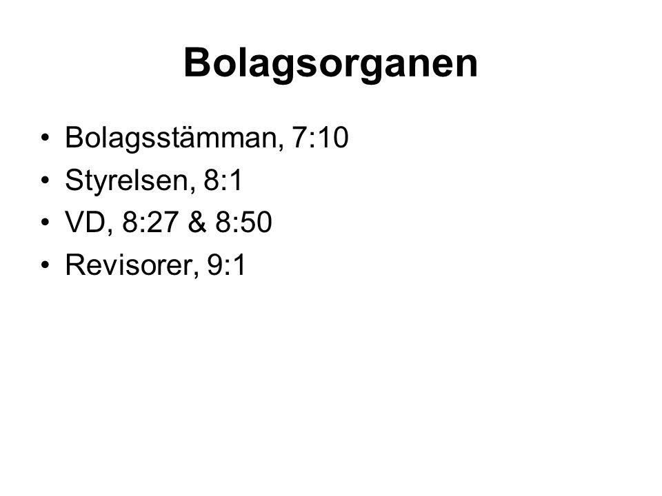 Bolagsorganen Bolagsstämman, 7:10 Styrelsen, 8:1 VD, 8:27 & 8:50