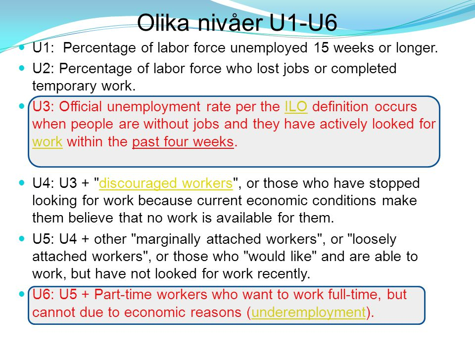Olika nivåer U1-U6 U1: Percentage of labor force unemployed 15 weeks or longer.