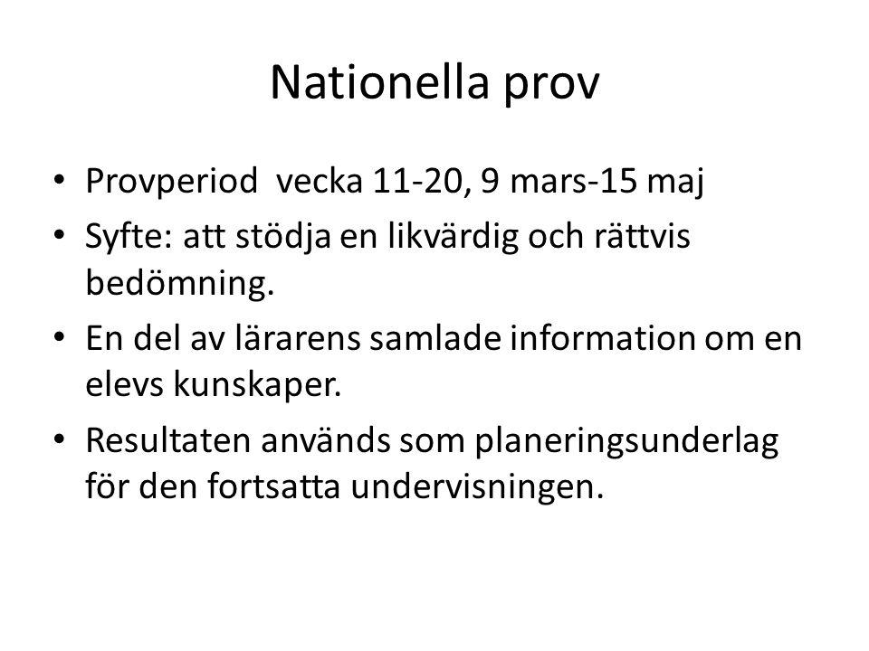 Nationella prov Provperiod vecka 11-20, 9 mars-15 maj