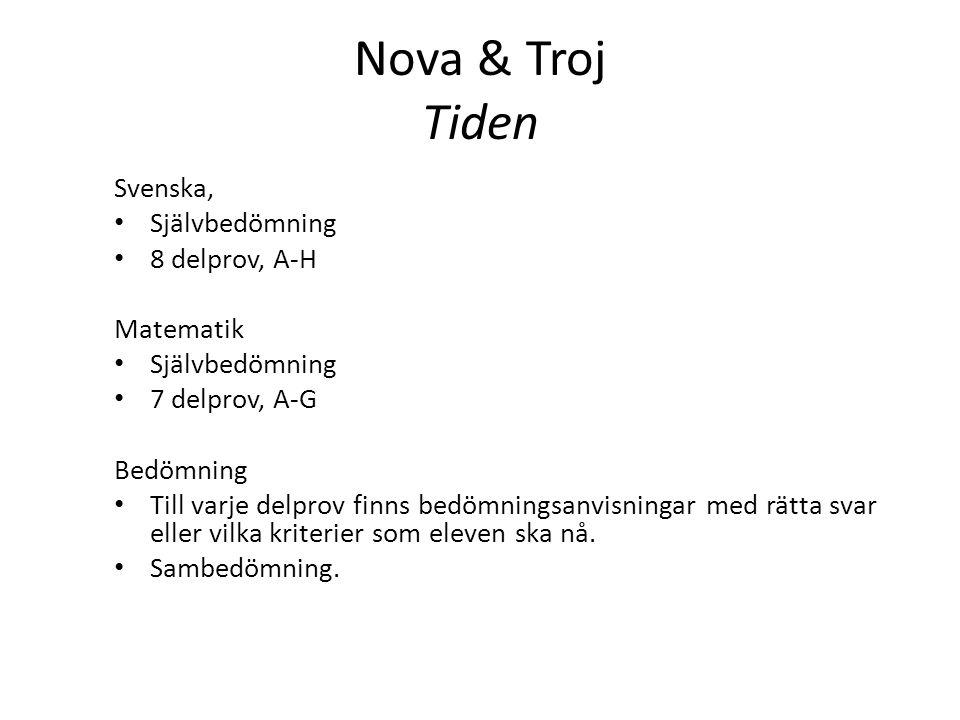 Nova & Troj Tiden Svenska, Självbedömning 8 delprov, A-H Matematik