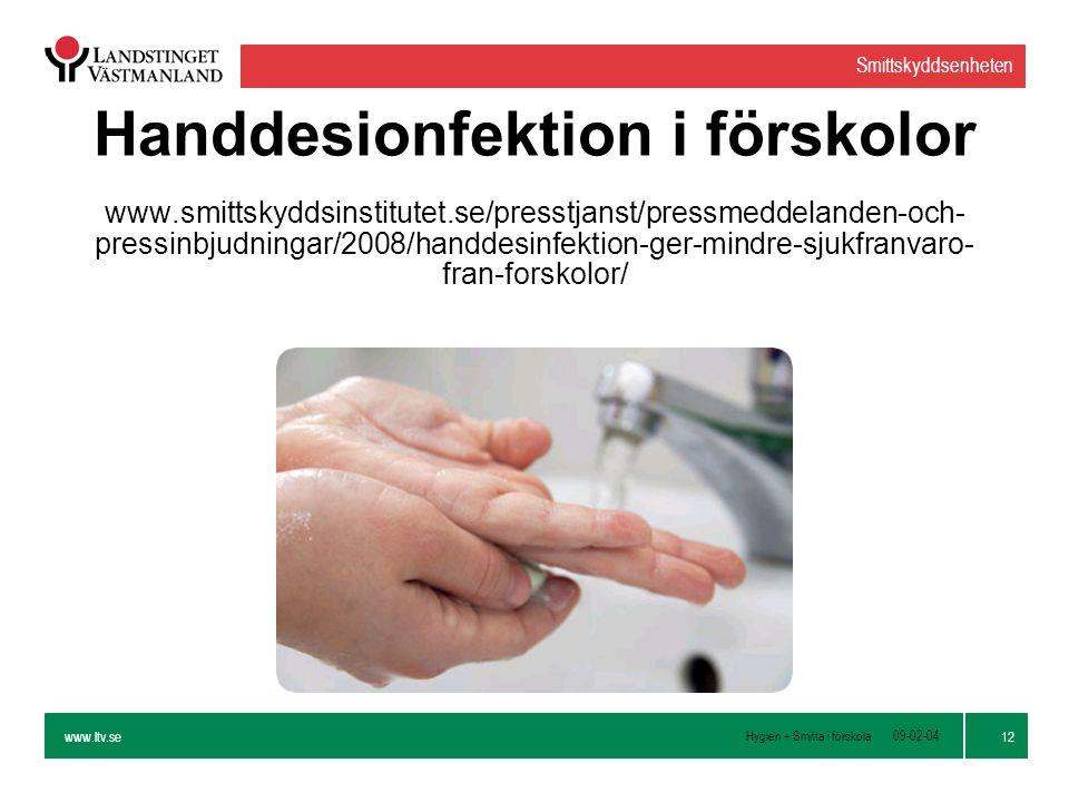 Handdesionfektion i förskolor www. smittskyddsinstitutet