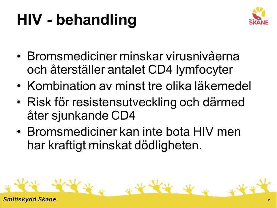 HIV - behandling Bromsmediciner minskar virusnivåerna och återställer antalet CD4 lymfocyter. Kombination av minst tre olika läkemedel.
