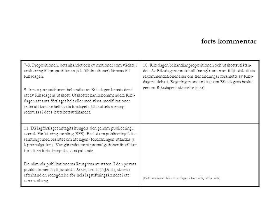 forts kommentar 7-8. Propositionen, betänkandet och ev motioner som väckts i anslutning till propositionen (s k följdmotioner) lämnas till Riksdagen.