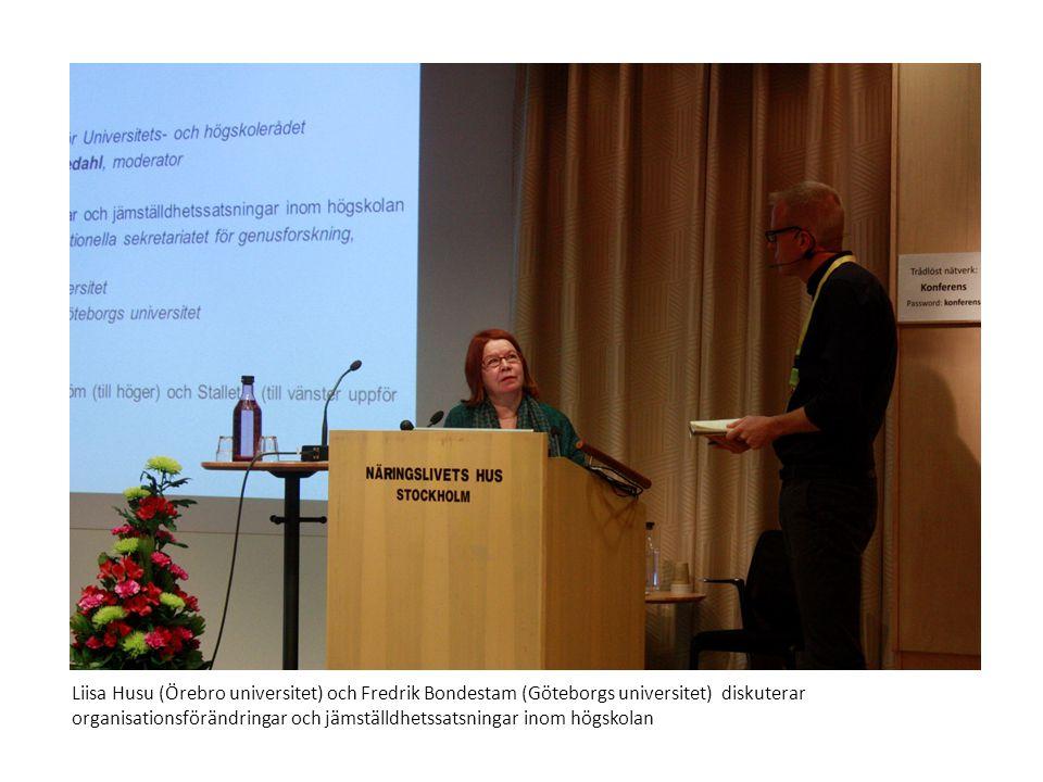 Liisa Husu (Örebro universitet) och Fredrik Bondestam (Göteborgs universitet) diskuterar organisationsförändringar och jämställdhetssatsningar inom högskolan