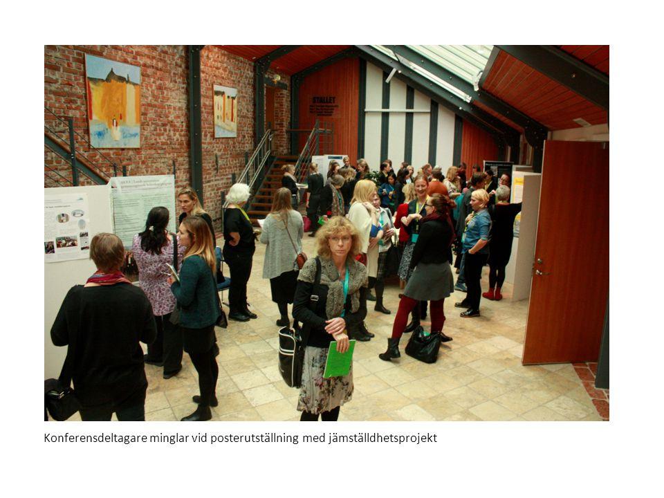 Konferensdeltagare minglar vid posterutställning med jämställdhetsprojekt