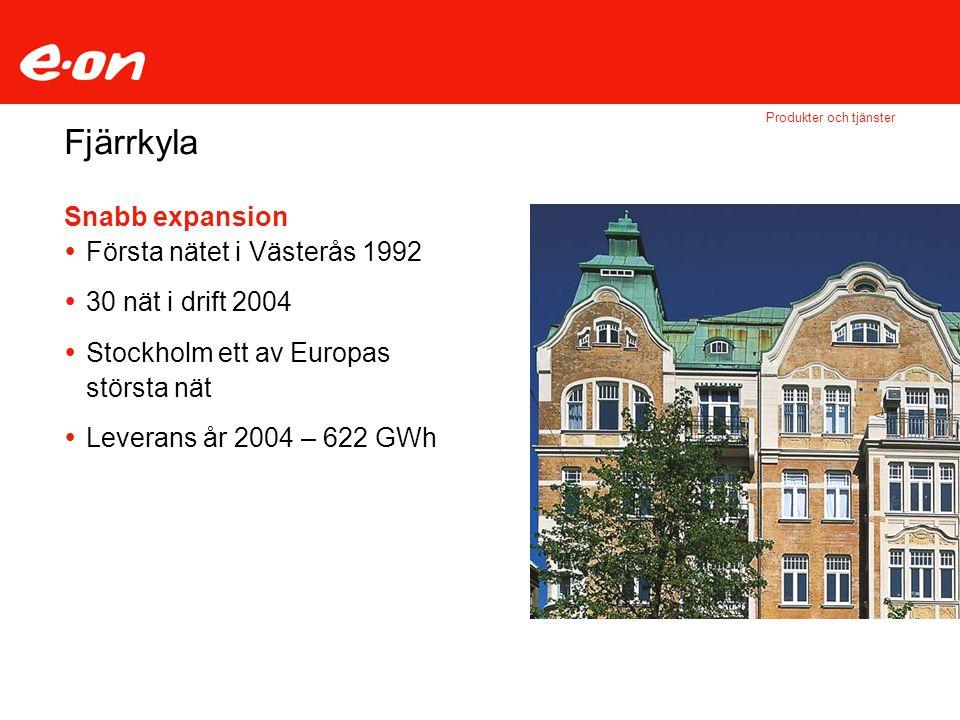 Fjärrkyla Snabb expansion Första nätet i Västerås 1992