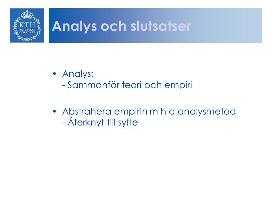Analys och slutsatser Analys: - Sammanför teori och empiri