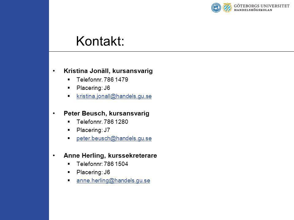 Kontakt: Kristina Jonäll, kursansvarig Peter Beusch, kursansvarig
