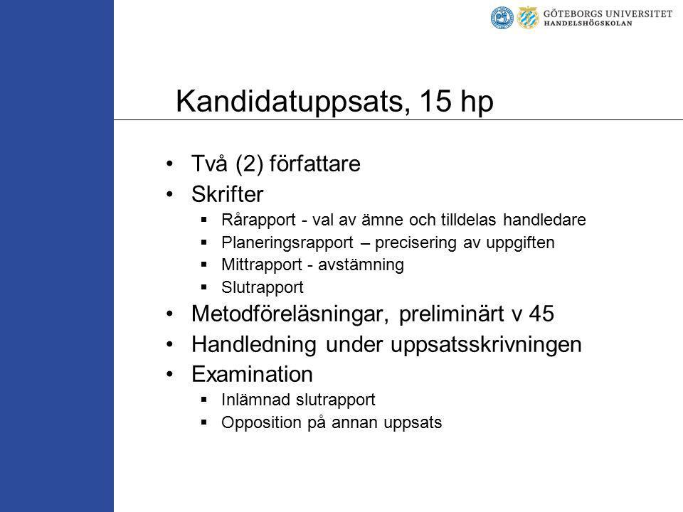 Kandidatuppsats, 15 hp Två (2) författare Skrifter