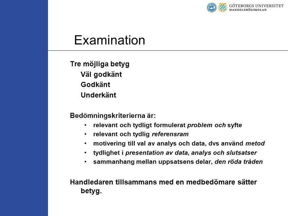 Examination Tre möjliga betyg Väl godkänt Godkänt Underkänt