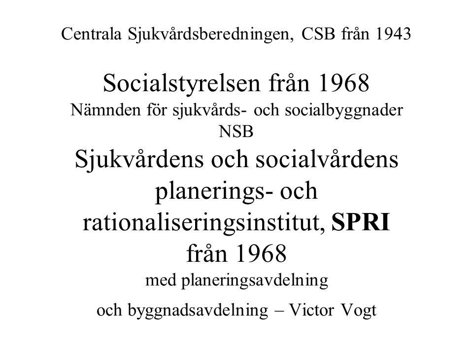 Centrala Sjukvårdsberedningen, CSB från 1943 Socialstyrelsen från 1968 Nämnden för sjukvårds- och socialbyggnader NSB Sjukvårdens och socialvårdens planerings- och rationaliseringsinstitut, SPRI från 1968 med planeringsavdelning och byggnadsavdelning – Victor Vogt