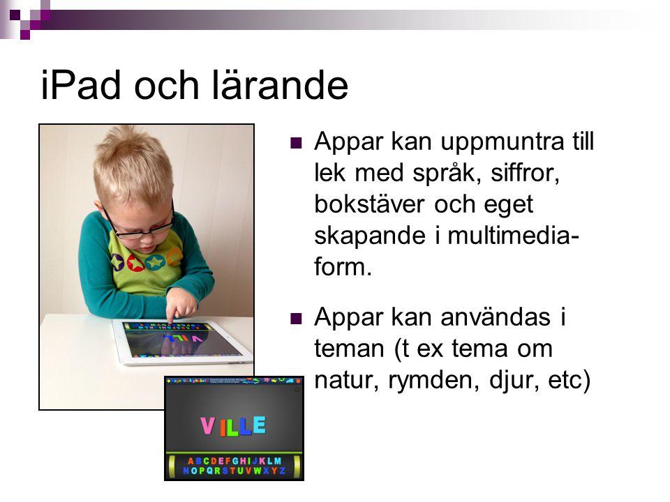 iPad och lärande Appar kan uppmuntra till lek med språk, siffror, bokstäver och eget skapande i multimedia-form.