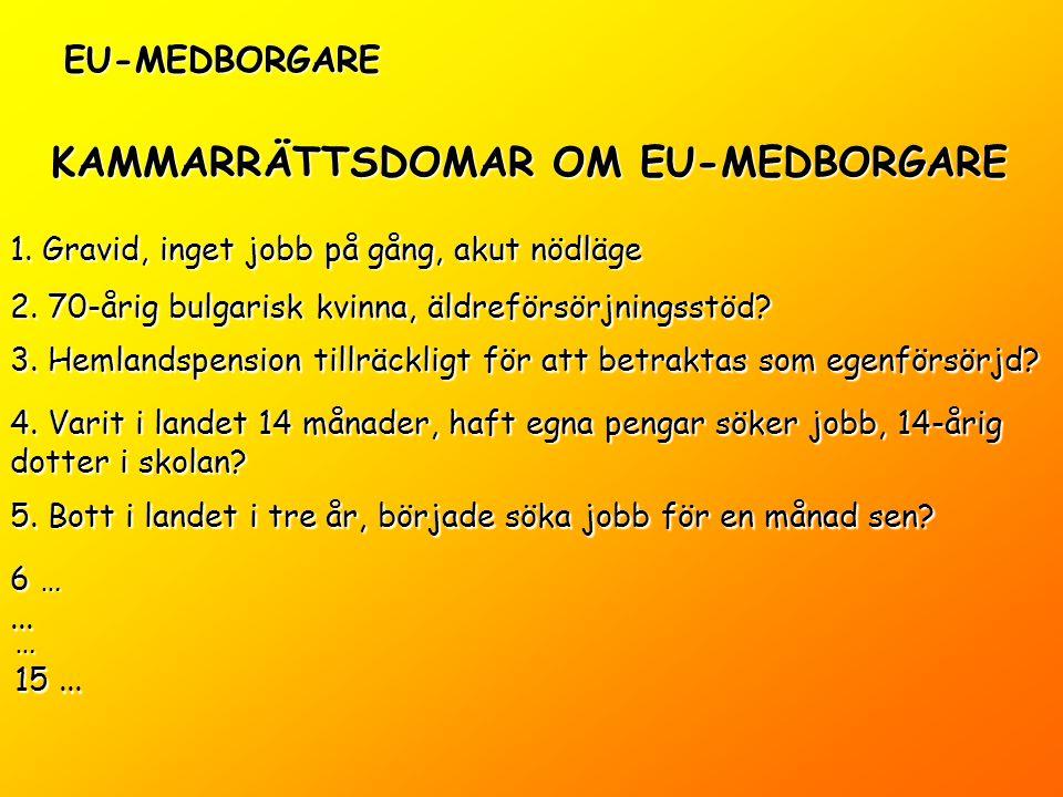 KAMMARRÄTTSDOMAR OM EU-MEDBORGARE