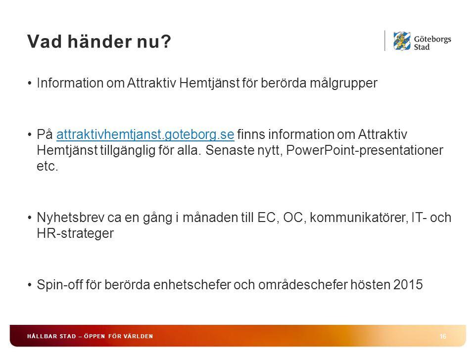 Vad händer nu Information om Attraktiv Hemtjänst för berörda målgrupper.