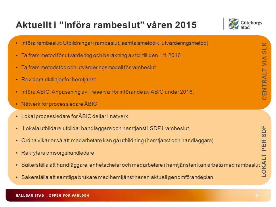 Aktuellt i Införa rambeslut våren 2015