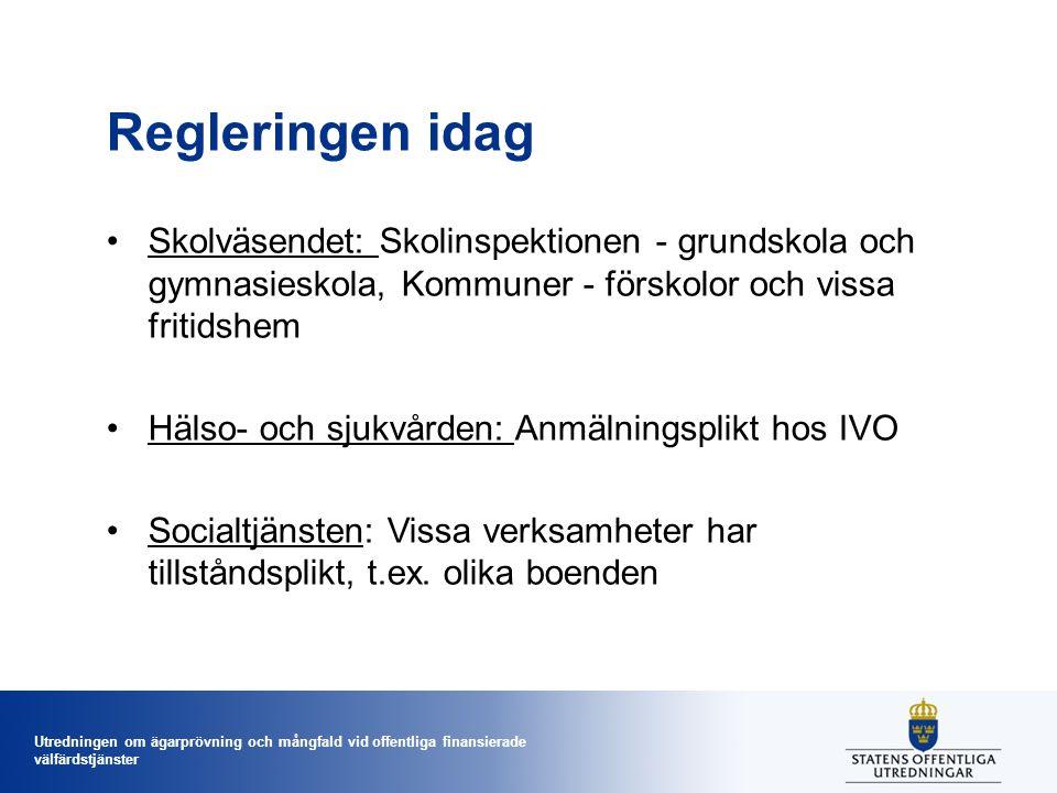 Regleringen idag Skolväsendet: Skolinspektionen - grundskola och gymnasieskola, Kommuner - förskolor och vissa fritidshem.