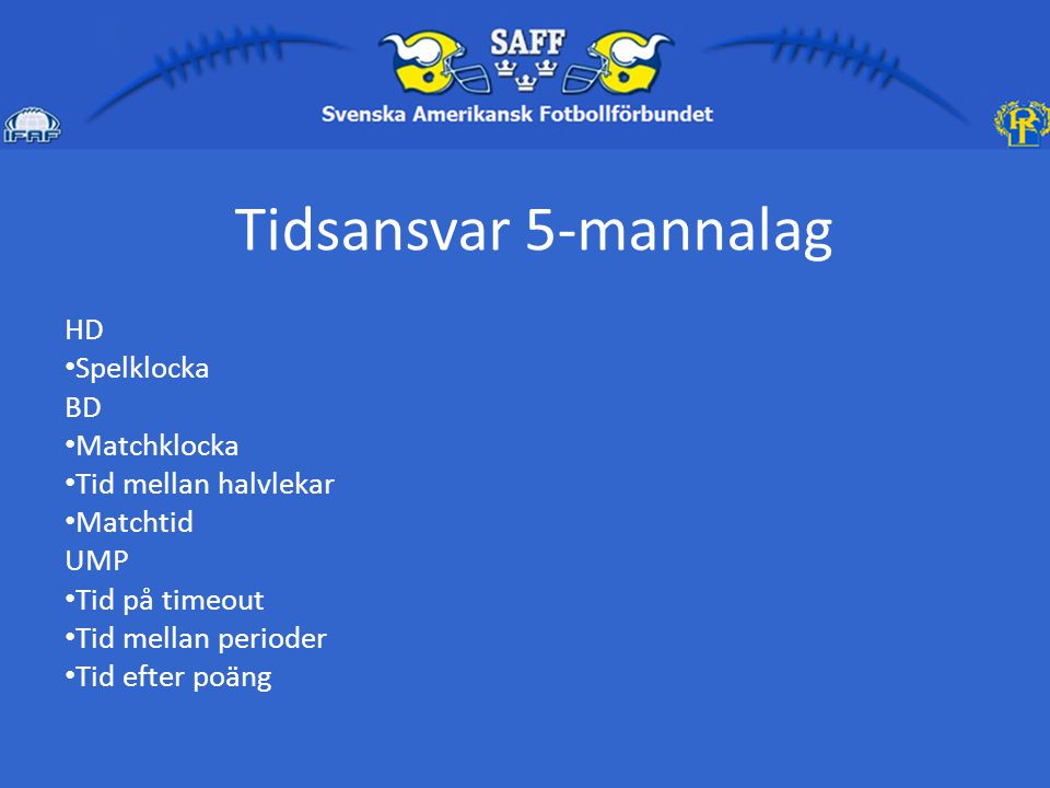 Tidsansvar 5-mannalag HD Spelklocka BD Matchklocka