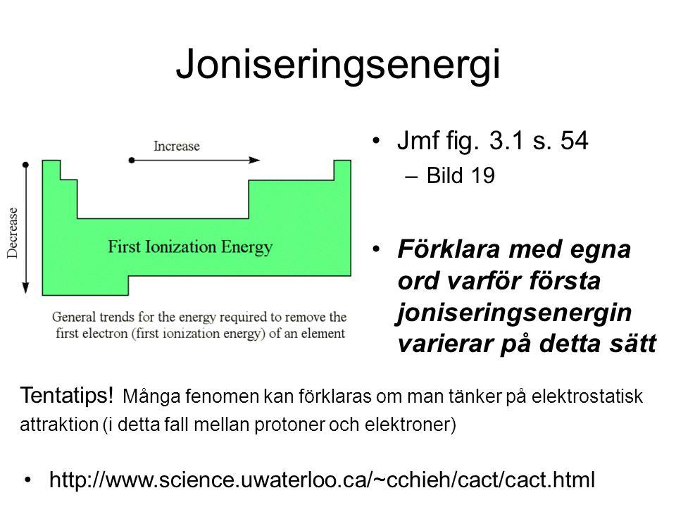 Joniseringsenergi Jmf fig. 3.1 s. 54