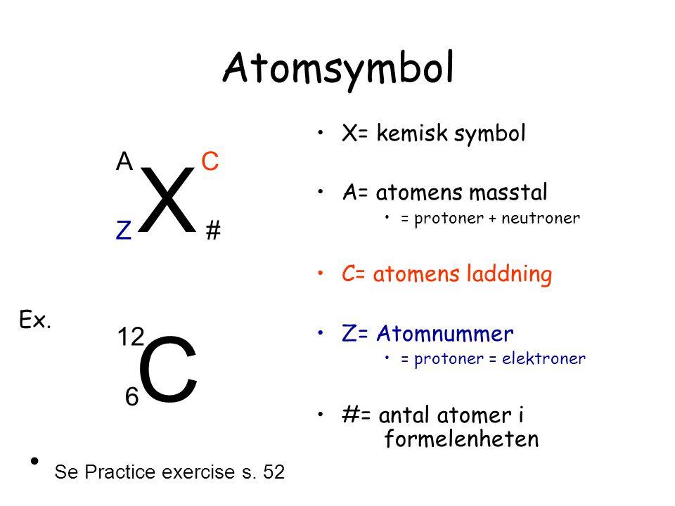 X C Atomsymbol Se Practice exercise s. 52 A C Z # 12 6