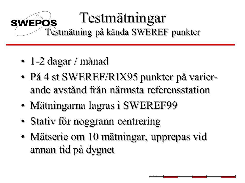 Testmätningar Testmätning på kända SWEREF punkter