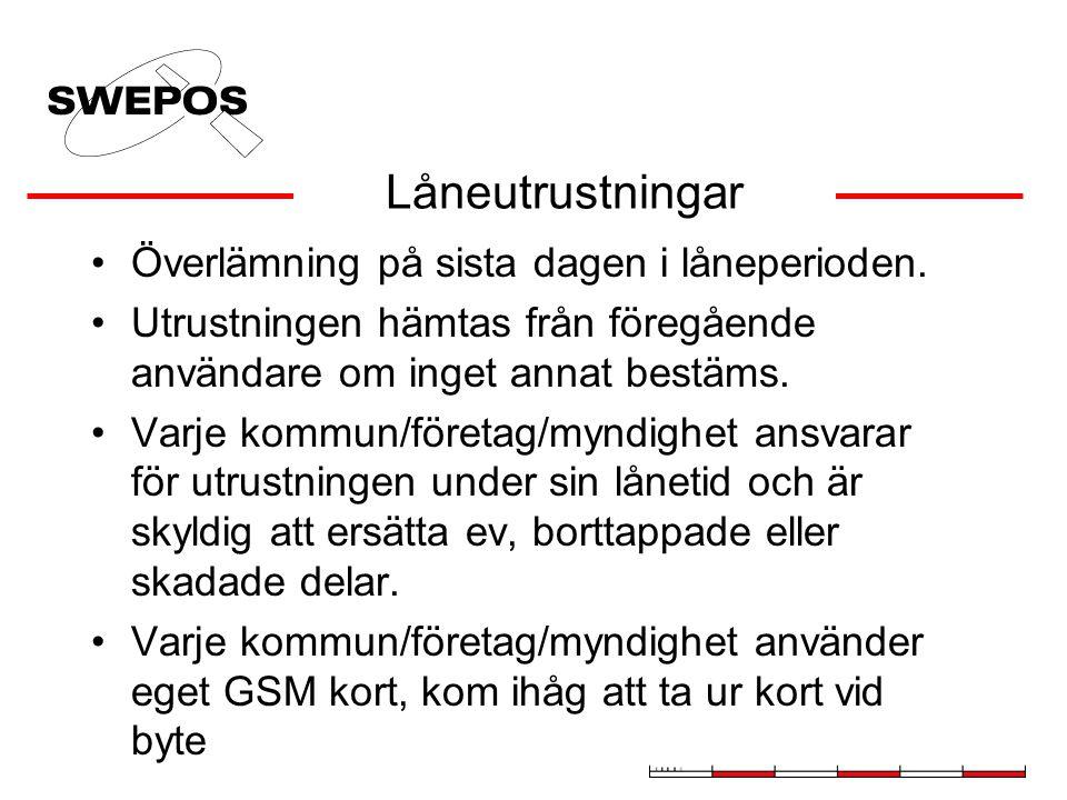 Låneutrustningar Överlämning på sista dagen i låneperioden.