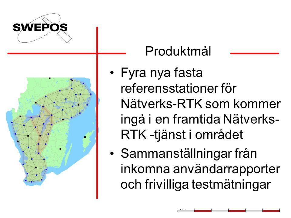 Produktmål Fyra nya fasta referensstationer för Nätverks-RTK som kommer ingå i en framtida Nätverks-RTK -tjänst i området.