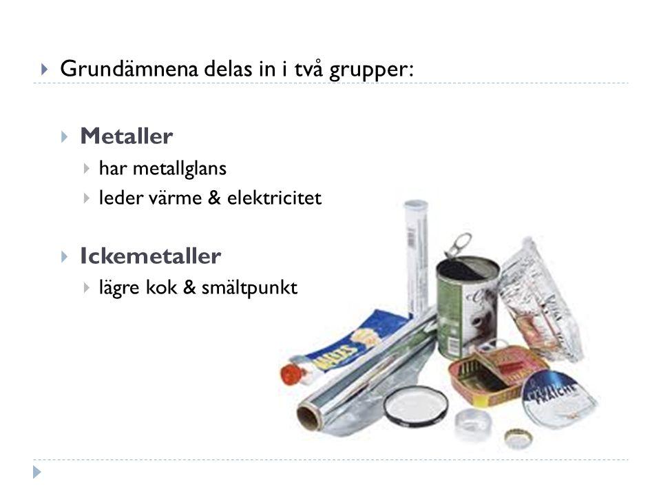 Grundämnena delas in i två grupper: Metaller
