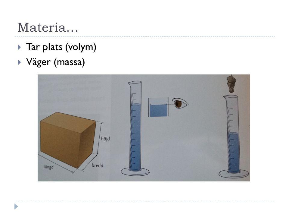 Materia… Tar plats (volym) Väger (massa)