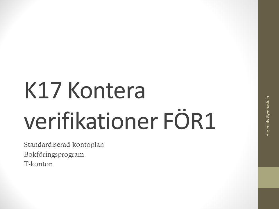 K17 Kontera verifikationer FÖR1