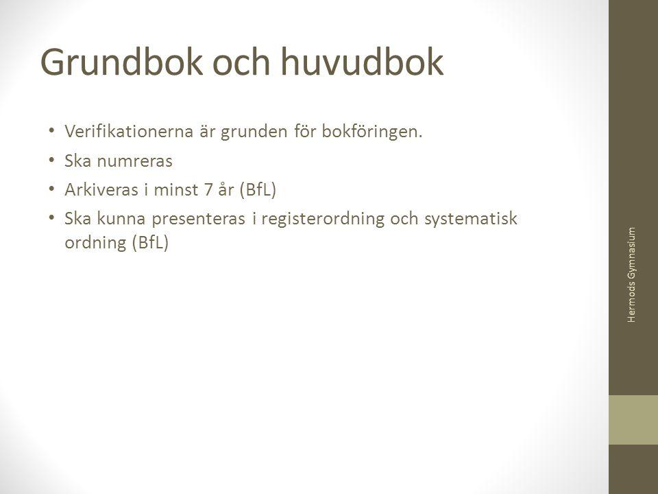 Grundbok och huvudbok Verifikationerna är grunden för bokföringen.