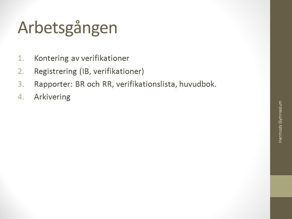 Arbetsgången Kontering av verifikationer