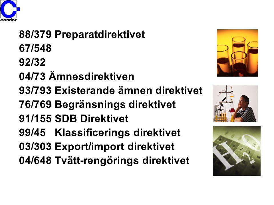 88/379 Preparatdirektivet 67/548. 92/32. 04/73 Ämnesdirektiven. 93/793 Existerande ämnen direktivet.