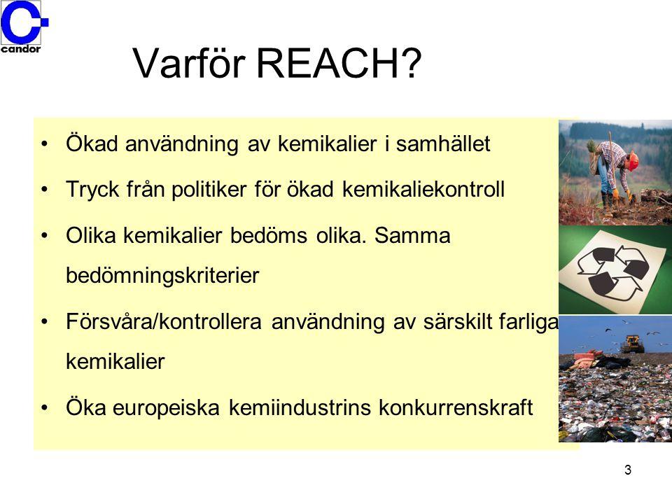 Varför REACH Ökad användning av kemikalier i samhället