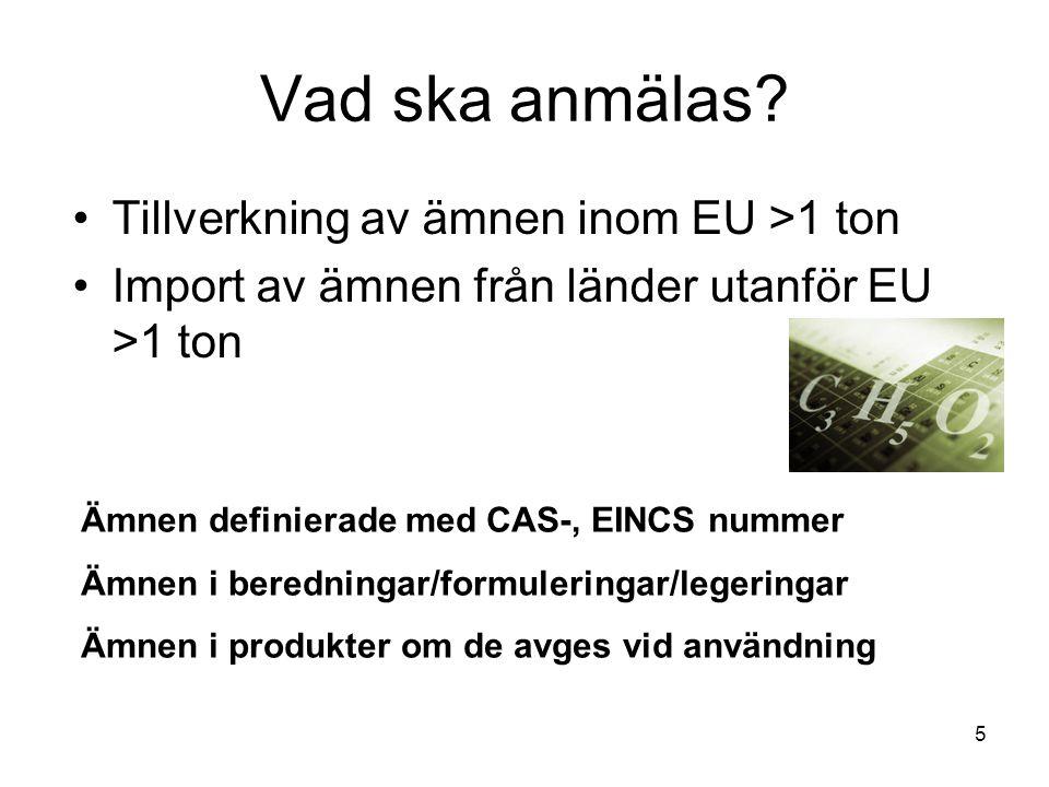 Vad ska anmälas Tillverkning av ämnen inom EU >1 ton