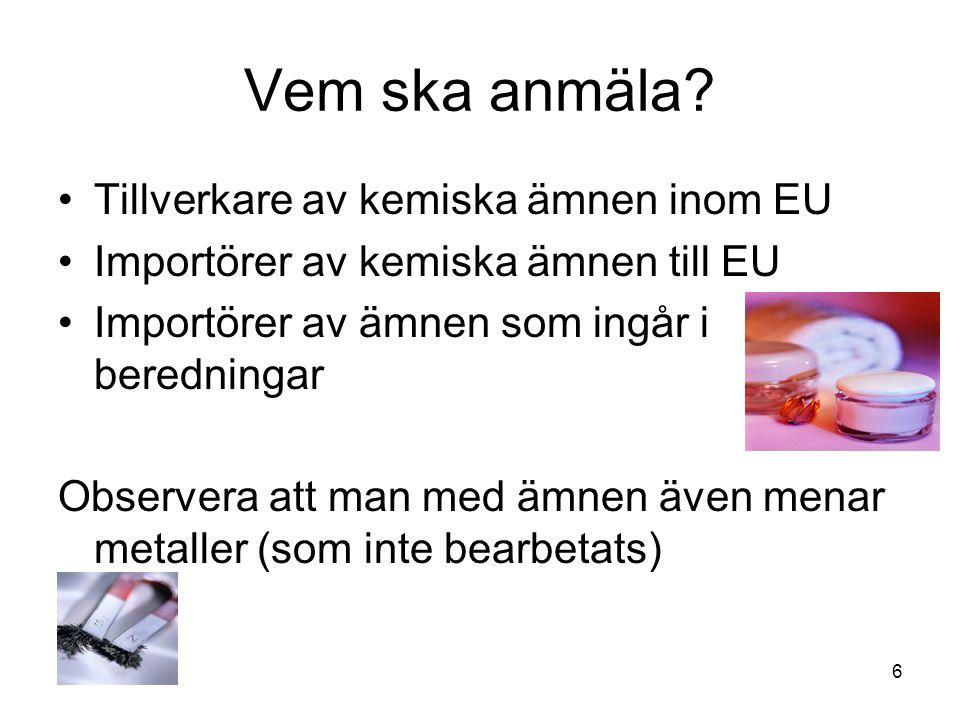 Vem ska anmäla Tillverkare av kemiska ämnen inom EU