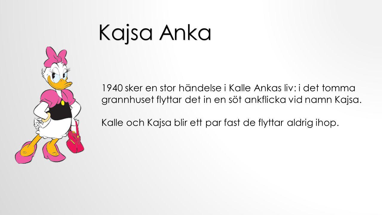 Kajsa Anka 1940 sker en stor händelse i Kalle Ankas liv: i det tomma grannhuset flyttar det in en söt ankflicka vid namn Kajsa.