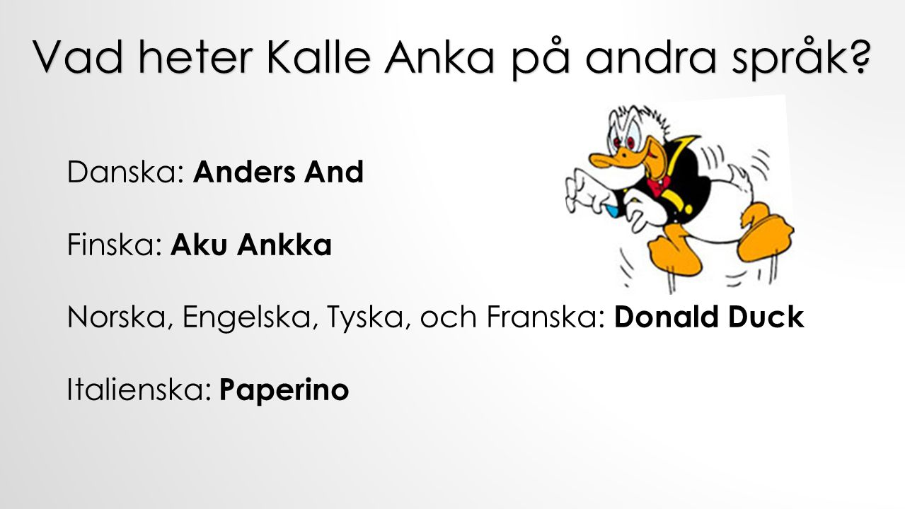 Vad heter Kalle Anka på andra språk