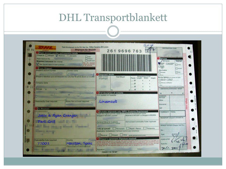 DHL Transportblankett