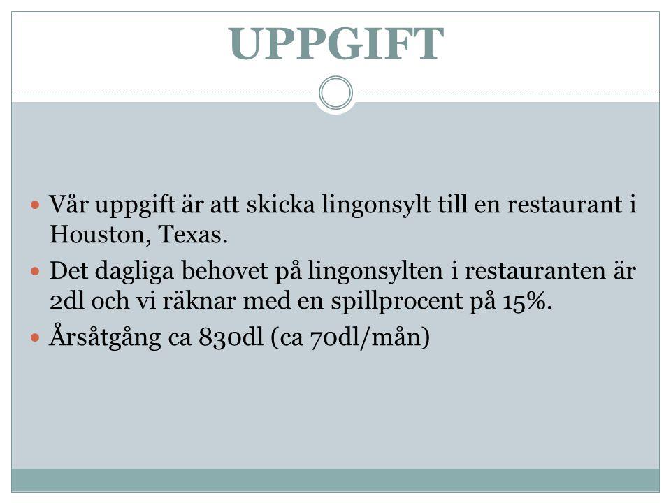 UPPGIFT Vår uppgift är att skicka lingonsylt till en restaurant i Houston, Texas.