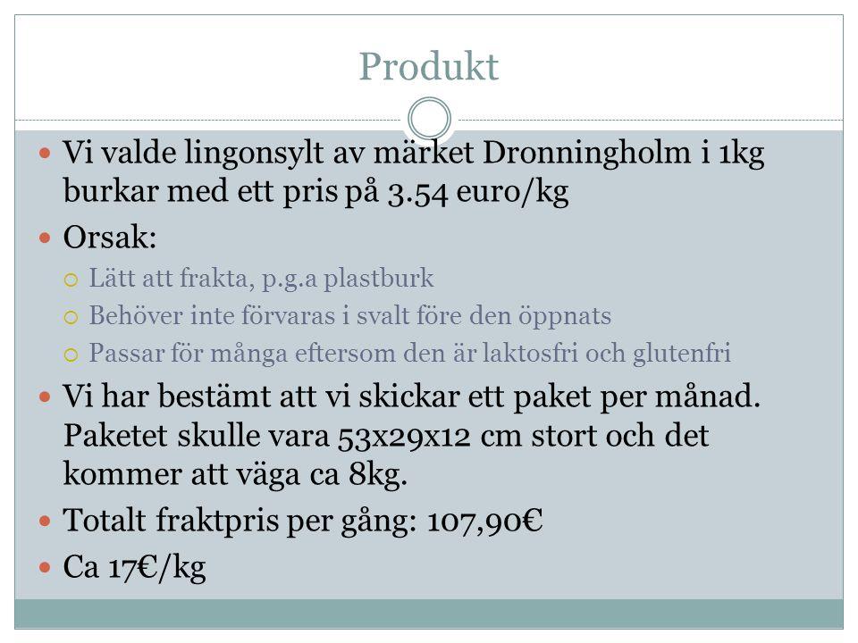 Produkt Vi valde lingonsylt av märket Dronningholm i 1kg burkar med ett pris på 3.54 euro/kg. Orsak: